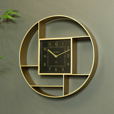 Round gold wall shelf display clock feature luxe modern wall display home decor