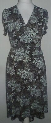 KIM & CO Floral Toile Brazil Jersey Tulip Sleeve Flared Dress Taupe Multi M NEW