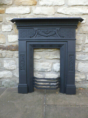 Victorian Cast Iron Fireplace Front with Fixing Lugs/Fire Bars/Mantle