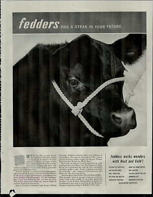 1952 Fedders Has a Steak in Your Life Condensers Cow Vintage Print Ad 2067