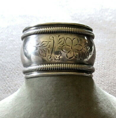 """ANTIQUE ETCHED FLOWERS GORHAM STERLING SILVER NAPKIN RING 1 1/8"""" TALL 16.5g B327"""