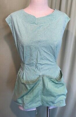 Lovely Vintage Home Sewn Cobbler Apron Green Gingham
