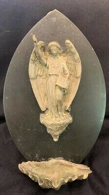 Antique French Bronze Black Marble Angel Catholic Holy Water Font