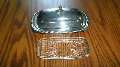 W.M. Rogers Silverplate Butter Dish with Cover & Glass Insert Vintage #887