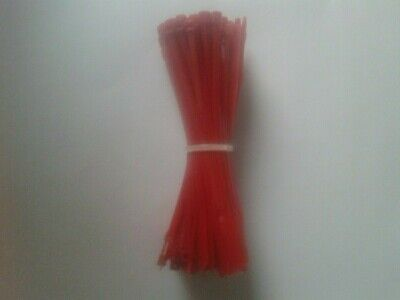90 Very Thin Red Plastic  Fastener Strips. 10Cm In Length.