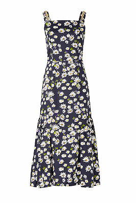 Mother of Pearl Blue Women's 10 Floral Print Square Neck Maxi Dress $750- #927