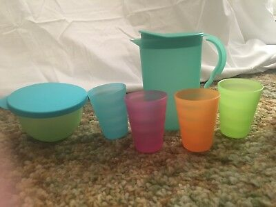 TUPPERWARE *NEW* Kids Impressions Beverage Set 4 Tumblers Pitcher And Bowl