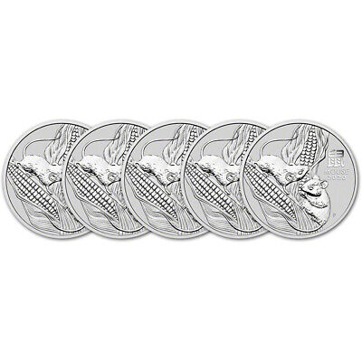 2020 P Australia Silver Lunar Year of the Mouse 2 oz $2 - BU - Five 5 Coins
