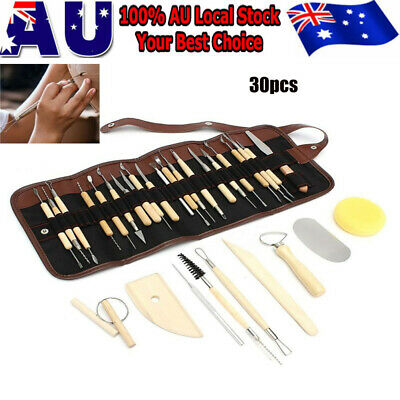 30pcs Wooden Ceramic & Clay Sculpting Pottery Art Tools Kit with Storage bag AU
