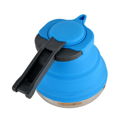 1.2L Collapsible Travel Kettle Picnic Camping Fishing Folding Gas Stove Pot Blue