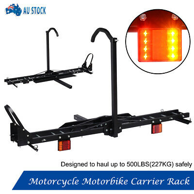 """227KG Steel Motorcycle motorbike carrier rack 2"""" Towbar Hitch Mount with Ramp"""