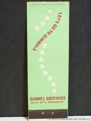 Gimbel Brothers Department Store New York City Broadway Matchbook Cover NYC NY