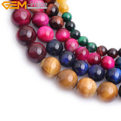 "Round Multi-Color Tiger's Eye Loose Beads For Jewelry Making Strand 15"" Dyed DIY"