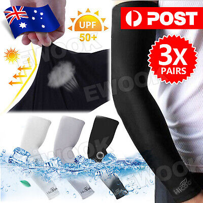 Cooling Sport Arm Sleeves Compression Protection Cover Tennis Basketball 3 Pairs