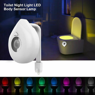 LED Toilet Bathroom Night Light PIR Motion Activated Seat Sensor 8Color Change