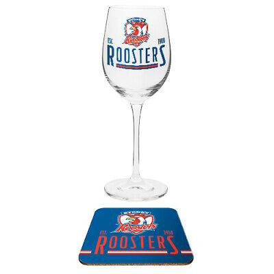 Sydney Roosters NRL Wine Champagne Drink Glass & Cork Coaster Birthday Gift