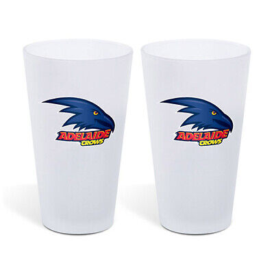 Adelaide Crows AFL Frosted Glass Glasses Set of 2 500ml