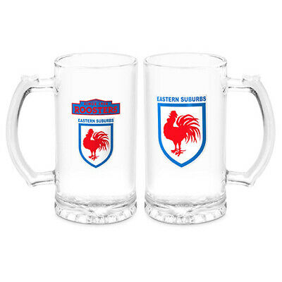 """Sydney Roosters NRL """"Heritage"""" Glass Drink Stein 500ml"""
