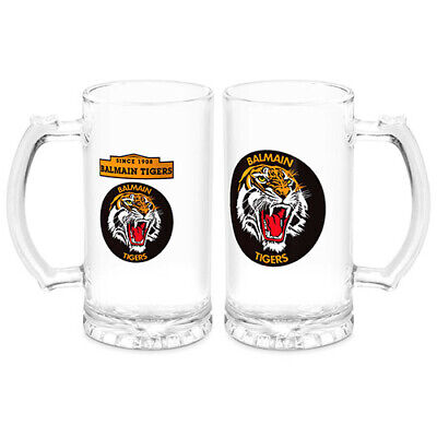 """Wests Tigers NRL """"Heritage"""" Glass Drink Stein 500ml Easter Gift 2020"""