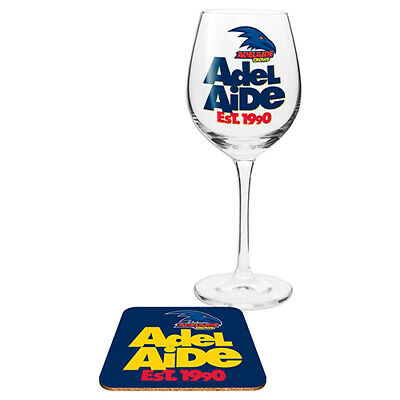 Adelaide Crows AFL WINE Glass and Coaster Gift Set Birthday Gift