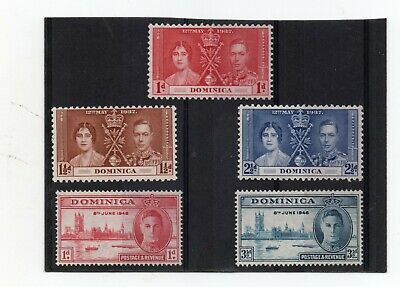 Dominica GV1 1937 Coronation 1946 Victory H.Mint