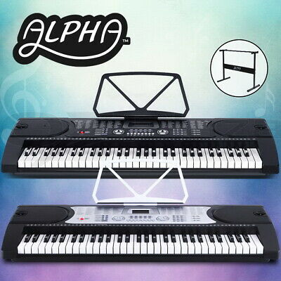Alpha 61 Keys Electronic Piano Keyboard LED Electric Holder Music Stand AU Stock