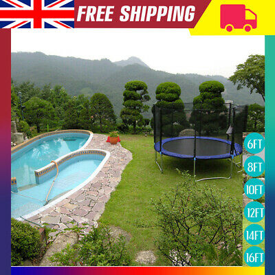 6FT/8FT/10FT/12FT/14FT/16FT Trampoline With Safety Net Enclosure Acce Outdoor UK