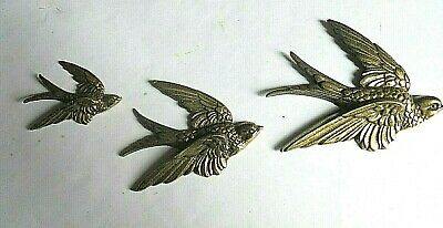 1930s VINTAGE Lovely set of 3 solid brass swallows (wall art)