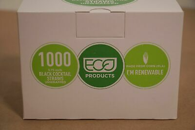 """20,000 Eco-Products EP-ST513 5 3/4"""" 6 Black Unwrapped Straws Cocktail Cold drink"""