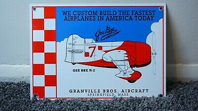 Vintage Gee Bee R-2 Gasoline Porcelain Sign Gas Oil Airplane Aviation Pump Plate