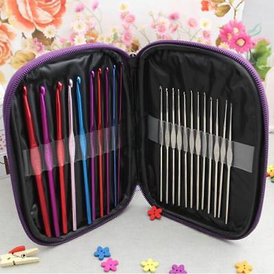 Aluminum Crochet Hooks Needles Knit 22pcs Set Multi Color Weave Craft Yarn GG