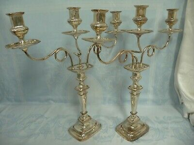 """Elegant Antique Pair Silver Plate Georgian Style 3 Candle Candelabra, 22"""" Tall!!"""