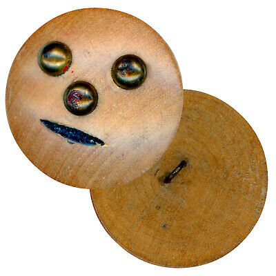 Button--Large Vintage Wooden Head with Plain Simple Face