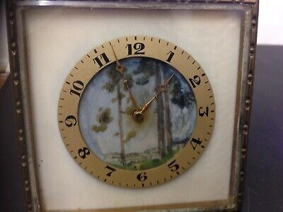 Antique Handpainted Face Swiss Travel Clock Fly Wheel Needs Attention
