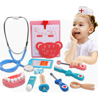 Wooden Play Role-playing Toys Pretend Doctor Dentist Kit Game Kids Toy Gift DP