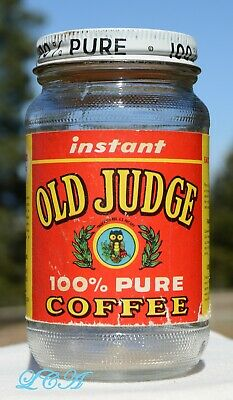 RARE miniature OLD JUDGE coffee jar w/ pic OWL fully labeled ST LOUIS