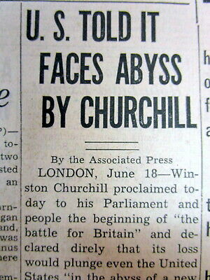 1940 WW II newspaper with WINSTON CHURCHILL SPEECH - This was their finest hour