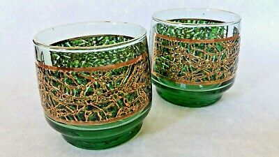 VINTAGE 1960s 1970s  SCOTCH ALLIGATOR TEXTURE GREEN GOLD BAR GLASSES TUMBLERS 2