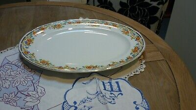 LGE SIZED ANTIQUE OVAL MEAT PLATTER/SERVING DISH-FLORAL PATTERN-c1930's GCOND