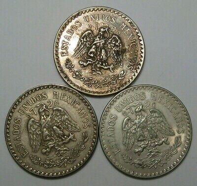 3- Silver ONE Pesos MEXICO- 1938, 1933, 1944. #6