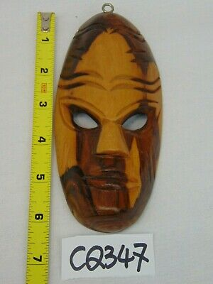 Vintage Miniature Wood Hand Carved Tribal Mask African-Fiji Wall Hanging