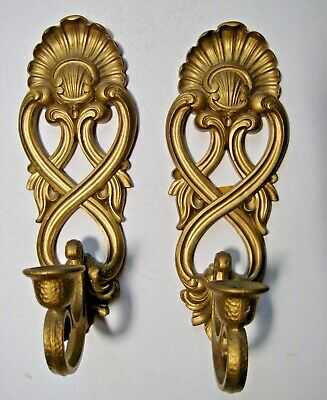 Vintage Candle Sconces Hollywood Regency Gold Shell & Scrolls Rococo