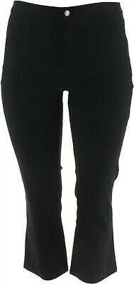Lisa Rinna Collection Twill Cropped Boot Cut Pants Black 16 NEW A292265