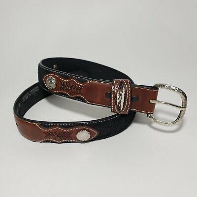 NOCONA Boys Sz 26 Concho Belt Woven Leather Suede Hand Stitched Brown Western