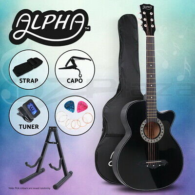 "Alpha 38"" Inch Wooden Acoustic Guitar Classical Folk Full Size Black Capo Tuner"