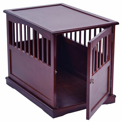 "24"" Wood Pet Crate End Table Cat Dog Kennel Cage w/ Lockable Door Furniture"