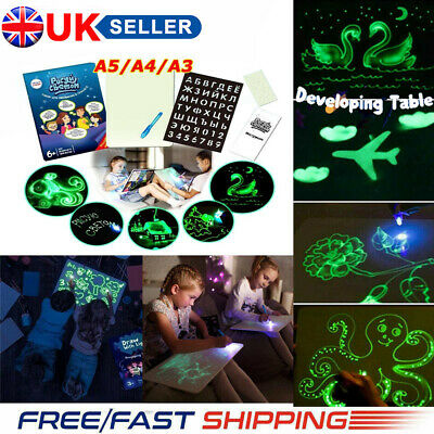 Draw With Light Drawing A3 Board Fun Developing Toy Kids Educational Magic Paint