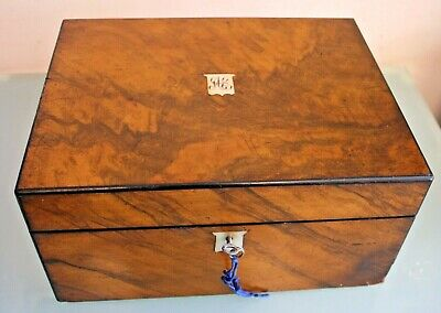 Antique Victorian Cross Cut Walnut Writing Slope with Working Key