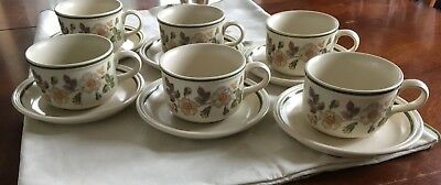 Vintage Set 6 Breakfast Cups & Saucers Autumn Leaves Design By M&S