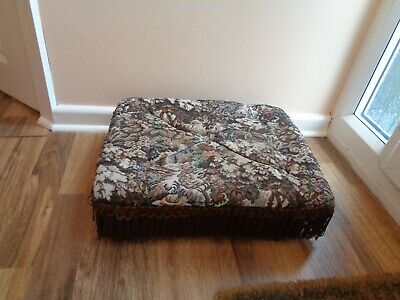 Small Tapestry Cloth Covered Foot Stool